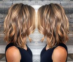 Layered Wavy Lob Hairstyle - Blonde and Light Brown Balayage