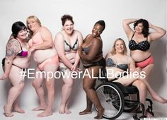 "This great photo is from a campaign launched by Jes Baker (The Militant Baker), in response to the Lane Bryant ""I'm No Angel"" campaign. The Lane Bryant campaign featured plus size models, and was itself an answer to the limited diversity in Victoria's Secret advertisements. However, the campaign lacked true diversity, as it featured primarily caucasian models with the typical curvy plus size model body type. Baker's ""Empower All Bodies"" campaign ups the ante by including models with a…"