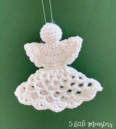 5 Little Monsters: Lacy Crocheted Angel Ornament Crochet Christmas Decorations, Crochet Ornaments, Christmas Crochet Patterns, Crochet Snowflakes, Angel Ornaments, Christmas Knitting, Christmas Crafts, Christmas Angels, Christmas Christmas