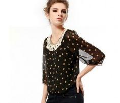 Black Dot Print Chiffon Top with Semi-sheer Cropped Sleeves Shirt Blouses, Shirts, Black Dots, Chiffon Tops, Print Chiffon, Black Blouse, Printed Blouse, Polka Dot Top, Lace