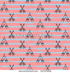 Seamless hand drawn teepees and arrows for fashion textile trendy background.
