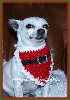 Gigets dog santa sweater and hat free crochet pattern dog christmas santa dog bandanna crochet pattern and video ccuart Images