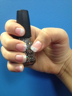 White glitter acrylic nails...I've done this before and loved it!