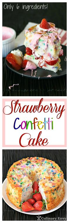 Strawberry Confetti Cake is piled with fresh sweet berries, strawberry marshmallow frosting, confetti angel food cake and topped with whip cream.  The perfect dessert that even kids can make. Click to read more or pin and save for later!