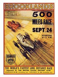 1930s Brooklands 500 Mile Racing Poster (30x40cm)
