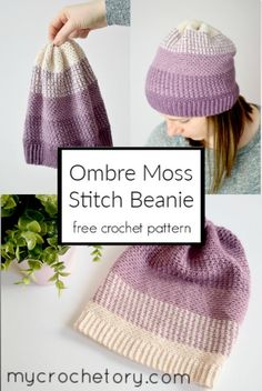The cold winter is here, and it's the perfect time to wear and make warm crocheted items. How pretty is this Ombre Moss Stitch Beanie? I crochet this original beanie sample in Drops BabyAlpaca yarn and I love the gradient . Crochet Adult Hat, Crochet Beanie Pattern, Easy Crochet Patterns, Crochet Yarn, Knitting Yarn, Free Crochet, Stitch Patterns, Crochet Headbands, Scarf Patterns