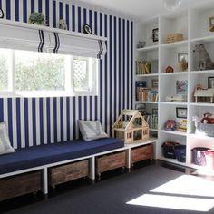 window seat, fun stripy wall, lots of shelving