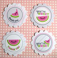 Watermelon thank you circle tags. #Printable #Watermelon #Circles