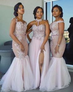 2018 Modest African Bridesmaid Dresses Long Mixed Style Appliqued Lace Tulle Split Side Slit Custom Made Maid Of Honor Bridesmaids Gowns African Bridesmaid Dresses, Mermaid Bridesmaid Dresses, Modern Bridesmaid Dresses, African Wedding Attire, Lace Bridesmaids, Maid Of Honour Dresses, Maid Of Honor, Wedding Party Dresses, Bridal Dresses
