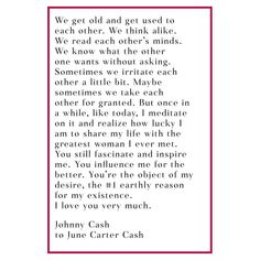 A love letter from Johnny Cash to June Carter Cash.  Celebrate your sweetie this Valentine's Day. Be sure to walk by our windows for some love letter inspiration (and come inside too!)