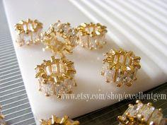 2pcs Gold plated Brass, AAA Zircon Pendant, Wheel Pendant, Necklace pendant,