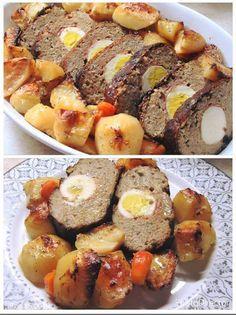 Ρολό κιμά με πατάτες στο φούρνο !!! ~ ΜΑΓΕΙΡΙΚΗ ΚΑΙ ΣΥΝΤΑΓΕΣ 2 Greek Recipes, Meat Recipes, Minced Meat Recipe, Mince Meat, Sausage, French Toast, Food And Drink, Beef, Cooking