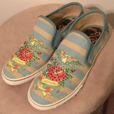 Ed Hardy Sneakers Fun slip on sneakers from Ed Hardy.  In excellent condition. Ed Hardy Shoes Sneakers