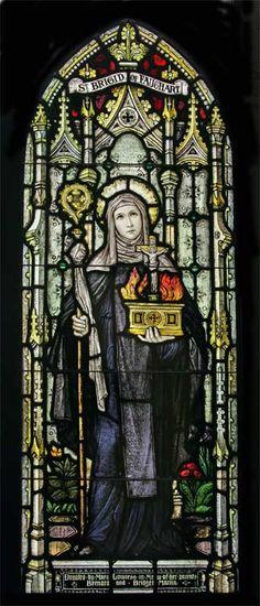 Saint Brigid of Faughart stained glass window (Brigid was born in Faughart, Ireland)