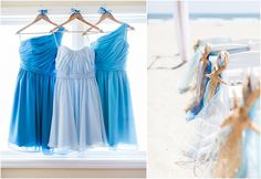 Blue Bridesmaids dresses! Beach Wedding in Ocean Isle, North Carolina by Kristen Lynne Photography