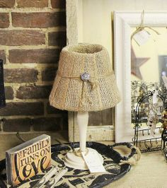 love the revamp vintage lamp, we added burlap to the shade, spray painted the base...