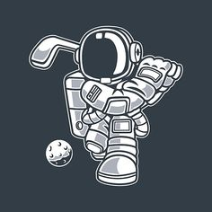 'An Astronaut Playing Golf With An Asteroid' by LazyKoala Astronaut Cartoon, Typography Art, Play Golf, Art Inspo, Drawings, Science Fiction, Artwork, Sci Fi, Work Of Art