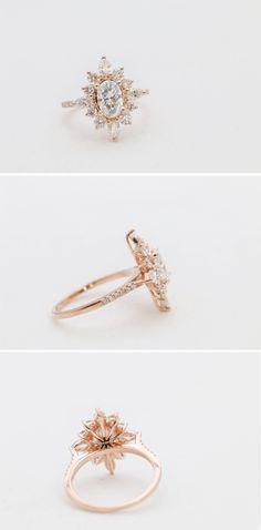 Diamond Halo Engagement Ring || Unique Engagement Ring || #engaged #engagementring