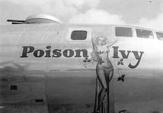 I love pin up girls. I couldn't pass up the opportunity to post a little example of my favorite form of pin up art. Nose art are the images . Nose Art, Ww2 Aircraft, Military Aircraft, Poison Ivy, Military Art, Military History, Skyteam Ace, Pin Up, Art Through The Ages