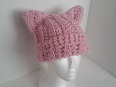 Pink Chunky Cat Beanie Hat - Pink Cat Hat - Cat Ear Hat - Pink Cat Beanie - Pink Cat Hat - Chunky Pussycat Hat- Pink Pussy Hat Women's March by SillyLittleBlackCat on Etsy
