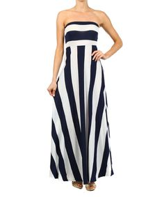 This Navy & White Stripe Strapless Maxi Dress by J-MODE is perfect! #zulilyfinds