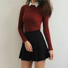 50 moderne Rock-Outfit-Ideen, die sich für den Herbst eignen 50 modern rock outfit ideas that are suitable for autumn # own outfits with skirts Mode Outfits, Trendy Outfits, Dress Outfits, Fall Outfits, Fashion Dresses, Cute Outfits With Skirts, Black Skirt Outfits, Black Skater Skirt Outfit, Black Skater Skirts