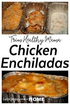 Trim Healthy Mama Chicken Enchiladas - Single Servings to freeze for later! THM-S(Enchiladas Chicken Healthy) Trim Healthy Mama Diet, Trim Healthy Recipes, Thm Recipes, Mexican Food Recipes, Chicken Recipes, Recipies, Cream Recipes, Dinner Recipes, Health Recipes