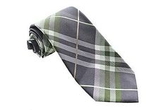 Geoffrey Beene New Green Grey Pierre Plaid Tie OS $55 DBFL