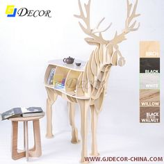 2014 Promotion New Design! for Wood Deer Side Table,coffee Table, Gjdecor Free… Pine Bookcase, Small Bookshelf, Bookshelves Kids, Wall Shelf With Drawer, Plywood Interior, Animal Puzzle, Plastic Tables, Vintage Sofa, Wooden Animals