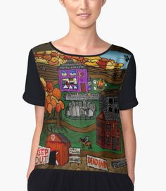 Halloween Dream Town Chiffon Top from RedBubble by Melasdesign https://www.redbubble.com/people/melasdesign/works/27987392-halloween-dream-town?asc=u&p=chiffon-top&rel=carousel&utm_campaign=crowdfire&utm_content=crowdfire&utm_medium=social&utm_source=pinterest Cute Halloween artwork that fits the season. #halloween #halloweentheme #costume #cute #halloweentown #illustration #fashion #style #fashionista #melasdesign #redbubble