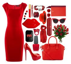 """""""Red."""" by sydneys98 ❤ liked on Polyvore featuring Givenchy, Beats by Dr. Dre, Dolce&Gabbana, Lulu Guinness, OPI, Christian Louboutin, Estée Lauder, Brooks Brothers, Lanvin and Pineider"""