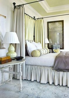 Over The Moon: Gorgeous fabric canopy and matching bolster pillow with accent color ceiling.  Amazing room!