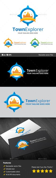 Town Explorer Logo Design Template Vector #logotype Download it here:  http://graphicriver.net/item/town-explorer/10311247?s_rank=1791?ref=nesto