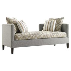 Perfect placed at the foot of your bed or below a bay window, this stylish settee showcases a chevron-print cushion and grey frame.
