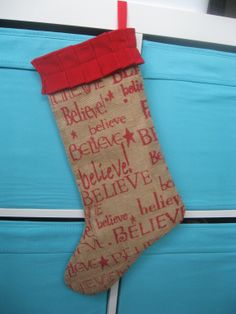 Believe Burlap Christmas Stocking