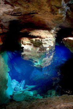 Blue Pool, at Chapada Diamantina. Bahia, Brazil.  HDR 3 shots (-1 0 +1)