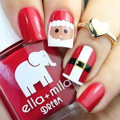 Down here check out this collection of 18 Christmas Santa nail art designs & ideas of these Xmas nails are adorable. Santa Nails, Xmas Nails, Christmas Nails, Santa Christmas, Christmas Christmas, Valentine Nails, Halloween Nails, Holiday Nail Art, Christmas Nail Art Designs