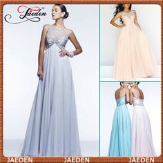HE142 Scoop Neckline Open Back Tulle Pleated Long Chiffon Empire Party Wear Grey Evening Dresses Fashion $119.99