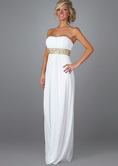 Classic Sheath Strapless Chiffon White Prom Dress