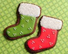 Christmas Stocking Sugar Cookies by guiltyconfections on Etsy Christmas Stocking Cookies, White Christmas Stockings, Christmas Sugar Cookies, Cookie Cake Decorations, Royal Icing Decorations, Cookie Decorating, Sugar Cookie Cakes, Sugar Cookie Royal Icing, Holiday Foods