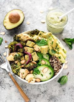 Roasted Veggie Buddha Bowl with Avocado and Creamy Lemon Dressing - this healthy recipe with quinoa is gluten free, vegan and clean eating. A complete meal with protein, fiber, healthy fats, and it is DELICIOUS. @wellplated