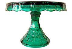 Emerald Green Glass Cake Stand on OneKingsLane.com