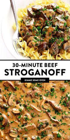 Classic Beef Stroganoff Recipe, Best Beef Stroganoff, Stroganoff Sauce Recipe, Beef Dishes, Pasta Dishes, Rinder Steak, Steak Pasta, Pasta With Beef, Steaks