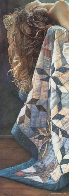 Artist: Steve Hanks, watercolor {contemporary figurative blonde female reclining woman head quilt painting}