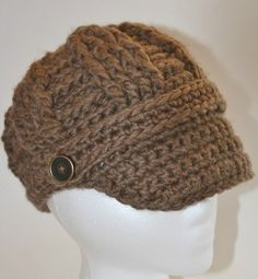 Milk Chocolate Cable Crochet Brimmed Beanie