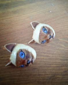 Vintage Cat Post Earrings. $12.00, via Etsy.