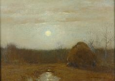 """""""November Moon,"""" Bruce Crane, 1911, oil on canvas, 14 x 20"""", private collection."""