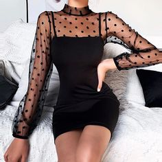 Cute Casual Outfits, Girly Outfits, Stylish Outfits, Black Outfits, Casual Night Out Outfit, Elegant Outfit, Casual Clothes, Classy Dress, Party Dresses With Sleeves