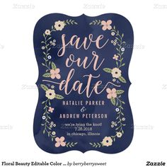 Custom Floral BeautyWedding Flower Navy & Pink r Save The Date Invitation Announcement Card  Beautiful and only a little over $2.00! Great DEAL!