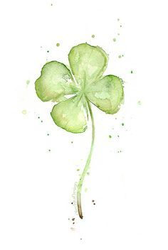 Four Leaf CLover Art Print of Watercolor Painting, Plans, St Patricks, Lucky…